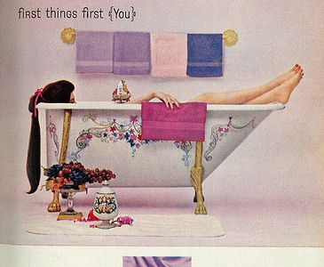 "1962 Beauty Ad, Wrisley Perfumed Bath Items, New French Lilac Fragrance, ""Very first Items Very first (You)"""