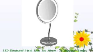 LED Illuminated 9inch Table Top Mirror 5x Magnified
