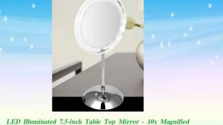 LED Illuminated 7.5inch Table Top Mirror  10x Magnified