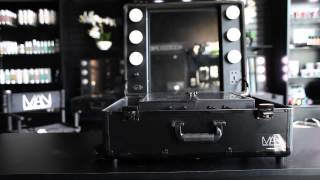 Makeup Artist Network Black Studio Makeup Case with LED Lights, Mirror, and Legs