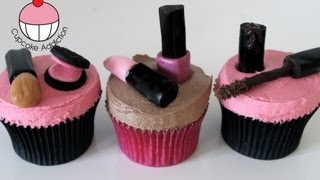 Makeup Cupcakes! Decorate Cosmetic Accessory Cupcakes – A Cupcake Addiction How To Tutorial