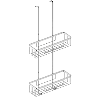 Two-tier Rectangular Wire Shower Basket With Hooks